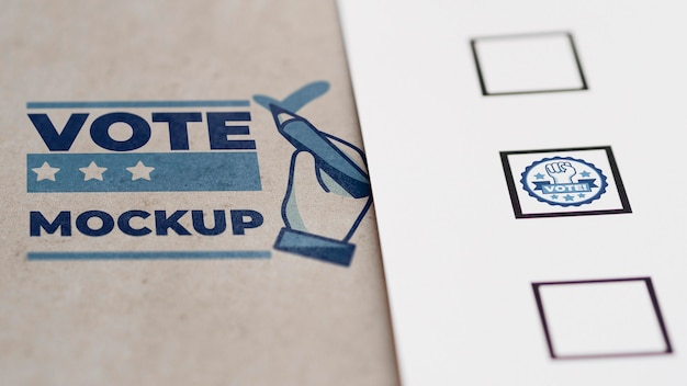 Макет избирательного бюллетеня с марками Бесплатные Psd