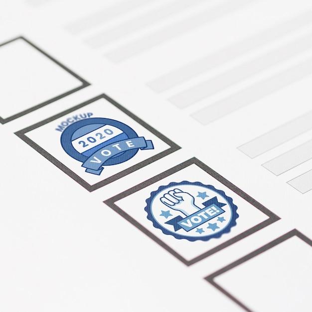 Крупным планом бюллетень с макетом марок Бесплатные Psd