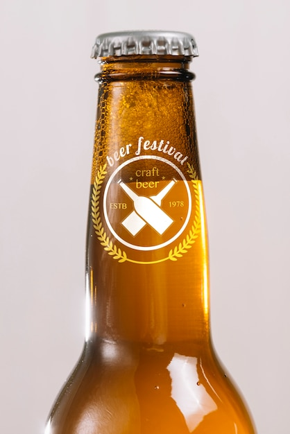 Close-up beer bottle neck Free Psd