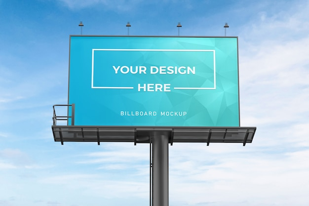 Close up on billboard mockup on blue sky Premium Psd