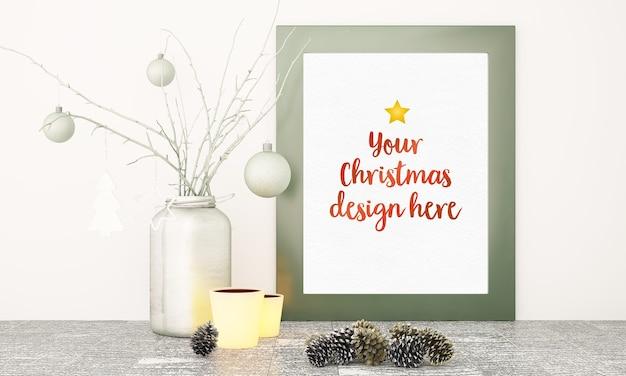 Close up on christmas frame mockup Premium Psd
