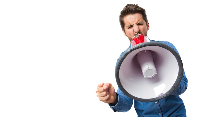 Close-up of concentrated worker with megaphone Free Psd