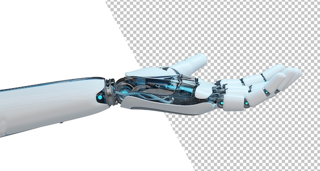 Close up on cut out open robot hand isolated Premium Psd