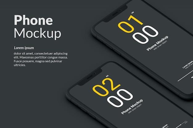 Макет темного телефона Premium Psd