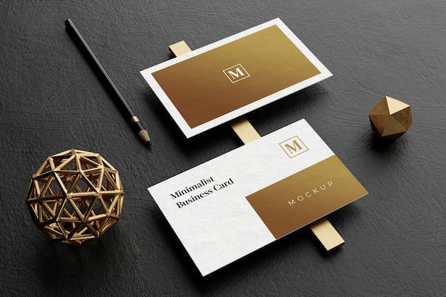 Close up on elegant business card mockup Premium Psd