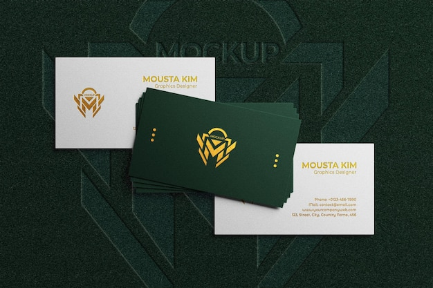 Close up on elegant business card with embossed logo mockup Premium Psd