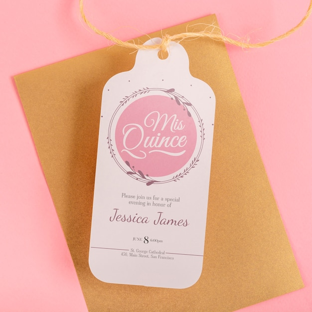 Close-up envelope and label for 15th birthday event Free Psd