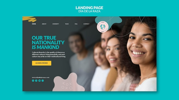 Close-up female of diverse ethnicity landing page Free Psd
