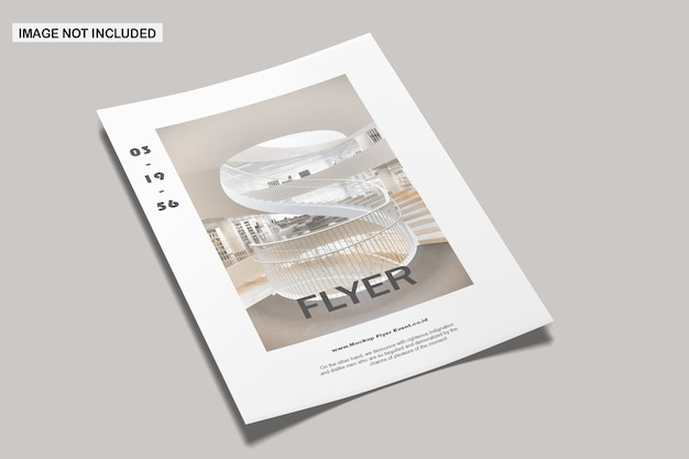 Close up on flyer mockup isolated Premium Psd