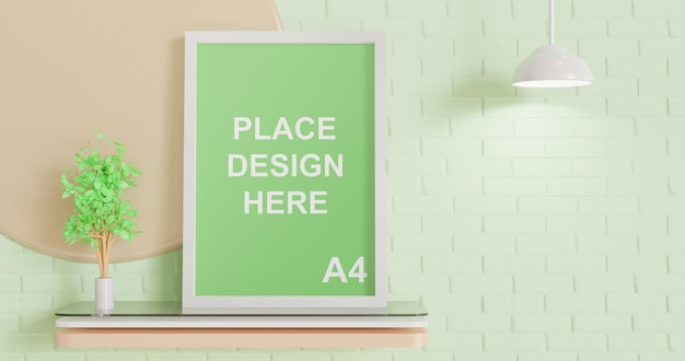 Close up on frame mockup on table with plant Premium Psd