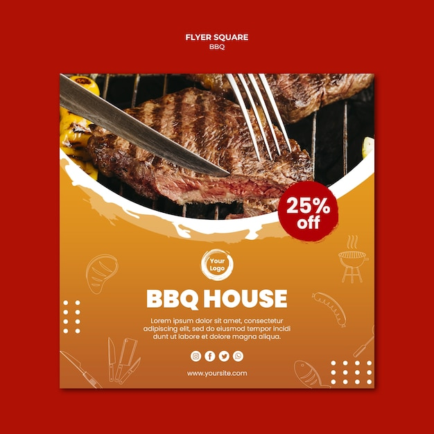 Close-up meet and cutlery square flyer template Free Psd