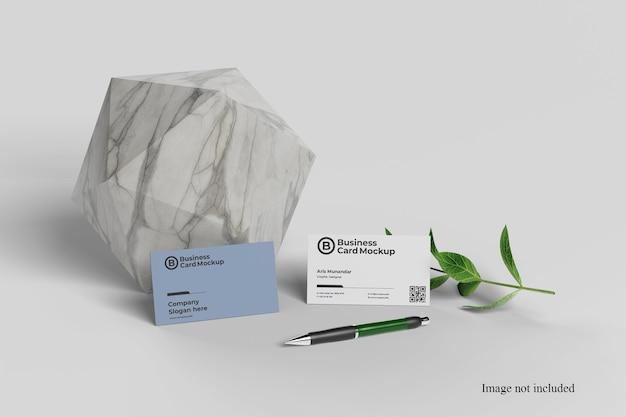 Close up on minimalist business card mockup Premium Psd