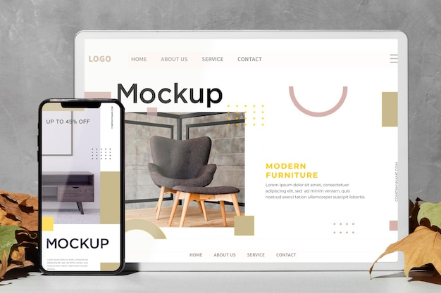 Close up mockup devices standing on the table next to leaves Premium Psd