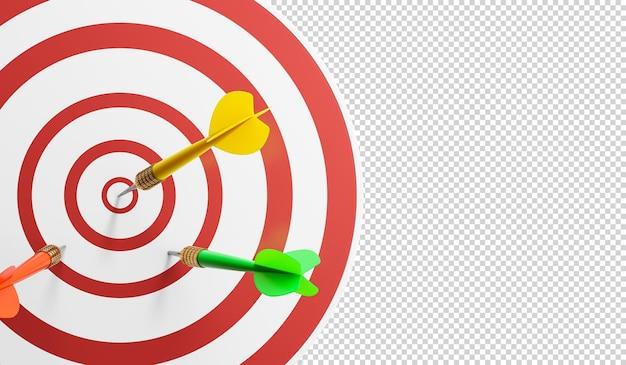 Крупный план бычьего глаза на стене с дротиками на целевой 3d иллюстрации Premium Psd
