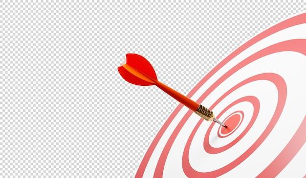 Крупный план яблочка с красным дротиком, попадание в целевые круги 3d иллюстрация Premium Psd