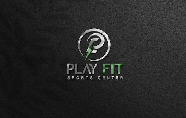 Крупным планом на 3d-макете логотипа на стене Premium Psd