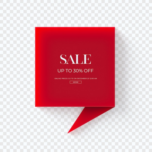Крупным планом на 3d красный тег одежды продажи изолированные Premium Psd