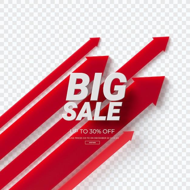 Крупным планом на 3d диаграмме красный продажа изолированные Premium Psd