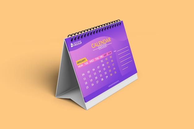 Крупным планом на макетах календаря спереди слева с фоном Premium Psd