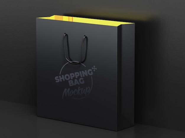 어두운 쇼핑백 모형 디자인에 가까이 프리미엄 PSD 파일