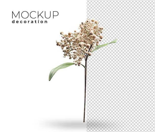 家の3dレンダリングのための花の装飾のクローズアップ Premium Psd