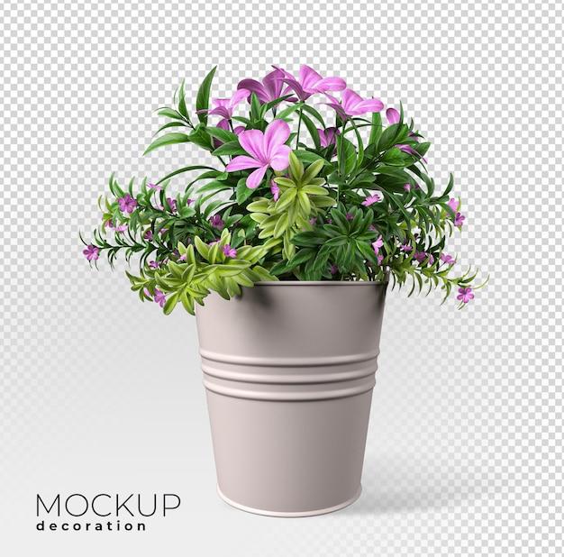 ポットインテリア3dモックアップの花にクローズアップ Premium Psd