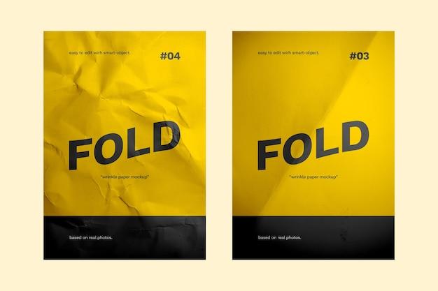 접힌 종이 모형에 닫기 프리미엄 PSD 파일