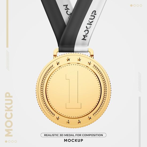 Крупным планом на изолированном макете золотой медали Premium Psd