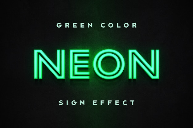 녹색 네온 사인 텍스트 효과 템플릿에 닫습니다 프리미엄 PSD 파일