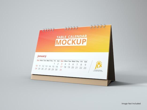 Крупным планом на макет календаря с пейзажным столом Premium Psd