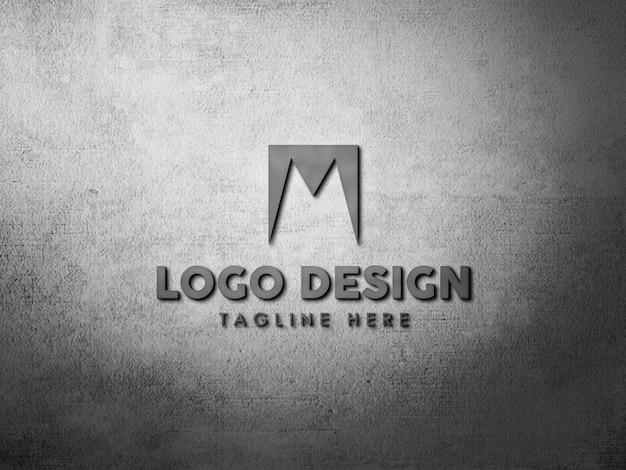 頑丈な壁のロゴのモックアップをクローズアップ Premium Psd