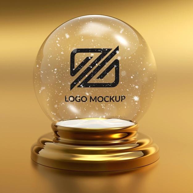 Крупным планом на снежок макет логотипа Premium Psd