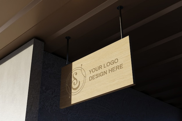로고 사인 보드 모형에 닫기 프리미엄 PSD 파일