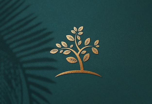 高級ロゴのモックアップデザインをクローズアップ Premium Psd