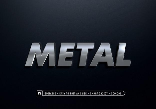 Крупным планом на металлическом шаблоне эффекта стиля текста Premium Psd