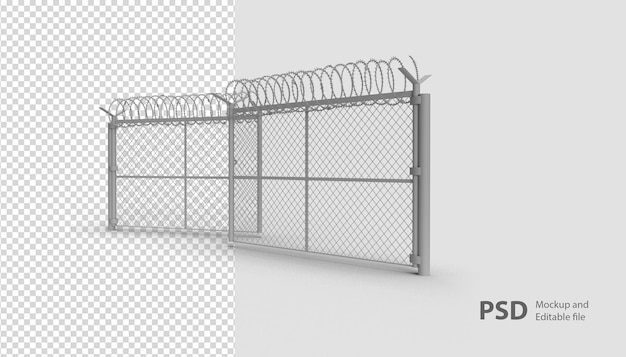 Крупным планом на военном заборе в 3d-рендеринге изолированы Premium Psd