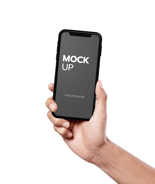 Крупным планом на современный мобильный макет Premium Psd