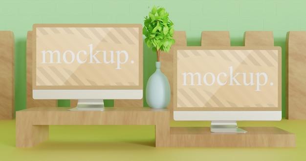 木製のミニテーブル、正面図のモニターのモックアップをクローズアップ Premium Psd