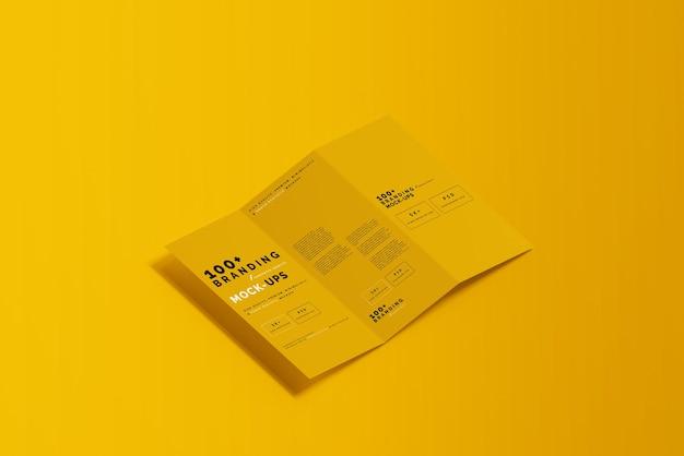 3つ折りdlパンフレットモックアップのパッケージングのクローズアップ Premium Psd