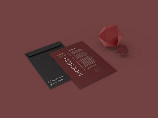 Крупным планом на макете бумажных листов Premium Psd