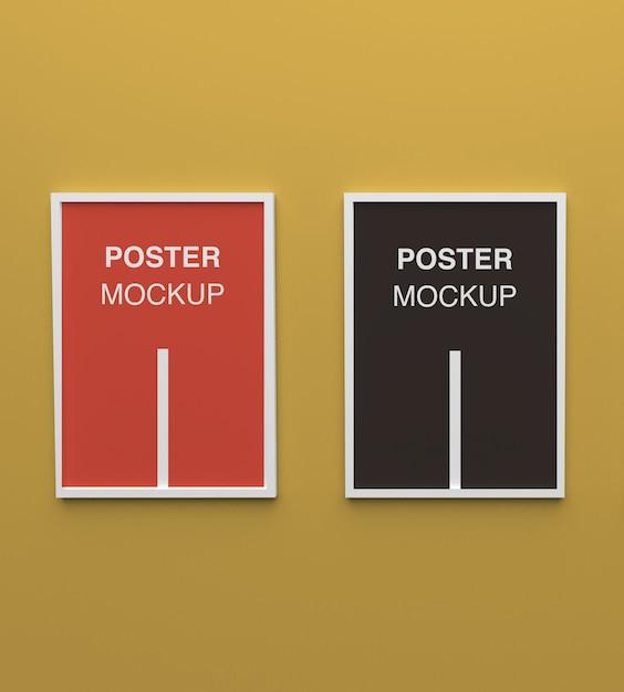 고립 된 흰색 프레임 포스터 모형에 닫습니다 프리미엄 PSD 파일