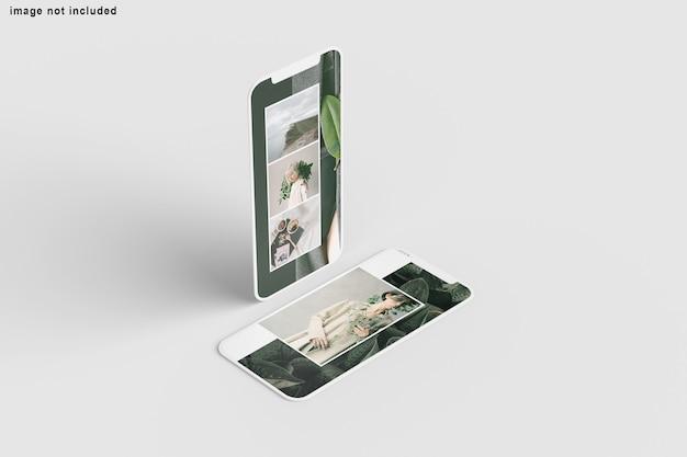 고립 된 화면 전화 모형에 닫습니다 프리미엄 PSD 파일