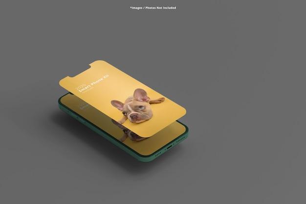 Крупным планом на изолированных макетах смартфонов Premium Psd