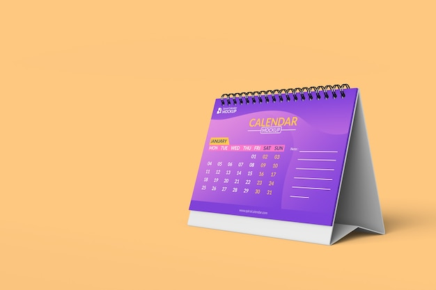 Крупным планом на спиральные шаблоны дизайна макетов календаря спереди Premium Psd