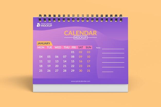 Крупным планом на дизайн макета спирального календаря Premium Psd