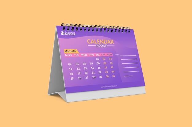 Крупным планом на спиральный макет календаря Premium Psd