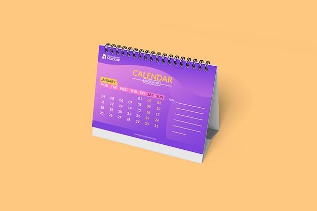 Крупным планом на спиральный стол макет календаря Premium Psd