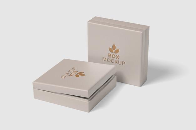 分離された正方形のボックスのモックアップにクローズアップ Premium Psd