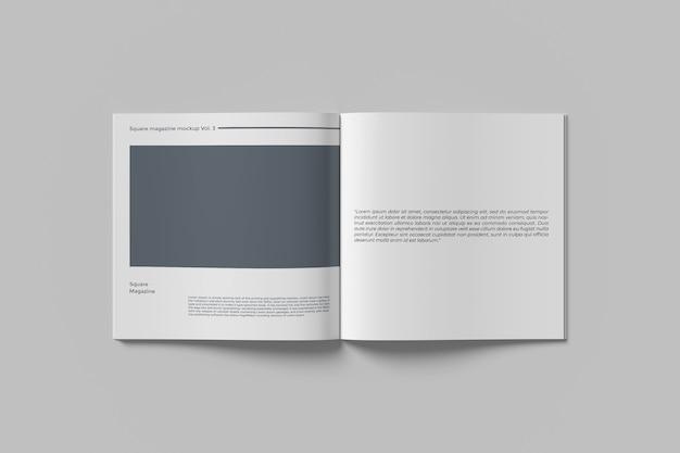トップエンジェルビューで隔離の正方形の雑誌のモックアップをクローズアップ Premium Psd