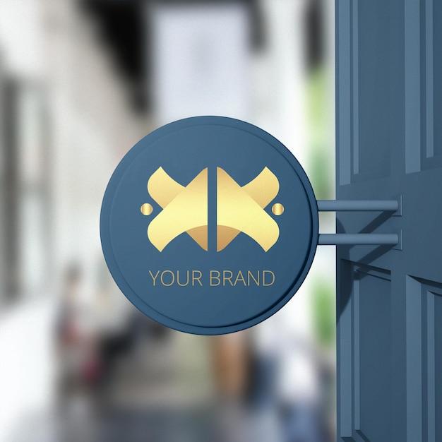 스토어 사인 브랜드 로고 목업에 닫기 프리미엄 PSD 파일